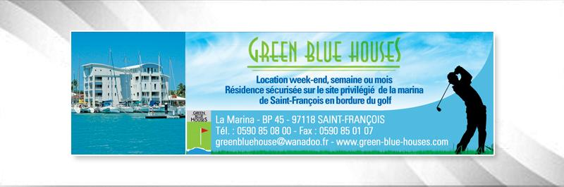 green blue houses